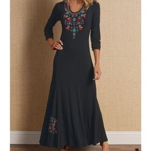 Soft Surroundings Black Embroidered Maxi Dress
